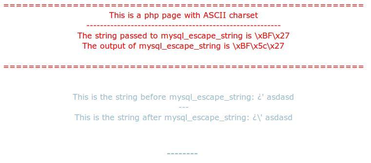 Mysql_escape_string: the charset vulnerability | Security